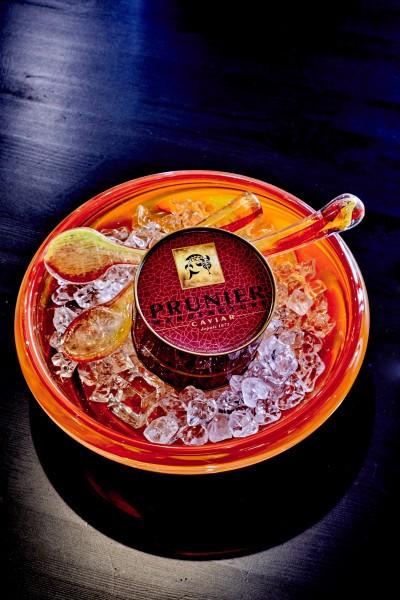 Glass caviar service (Orange)