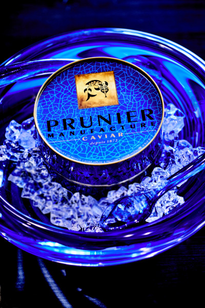 Service à caviar en verre BLEU