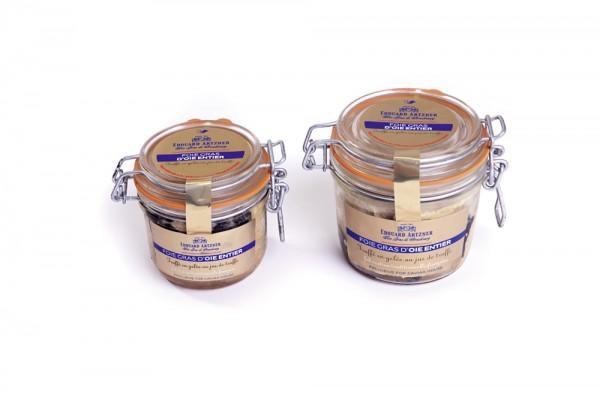 Foie gras d'oie entier truffé en gelée au jus de truffe